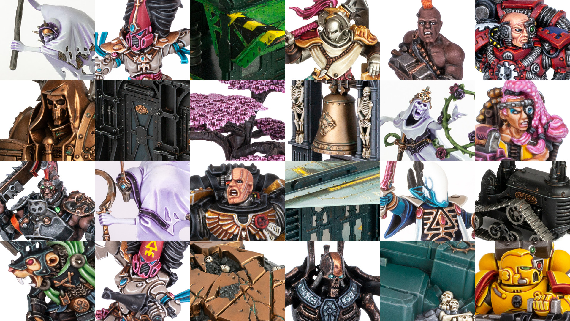 A mosaic of Stahly's painted models from 2020