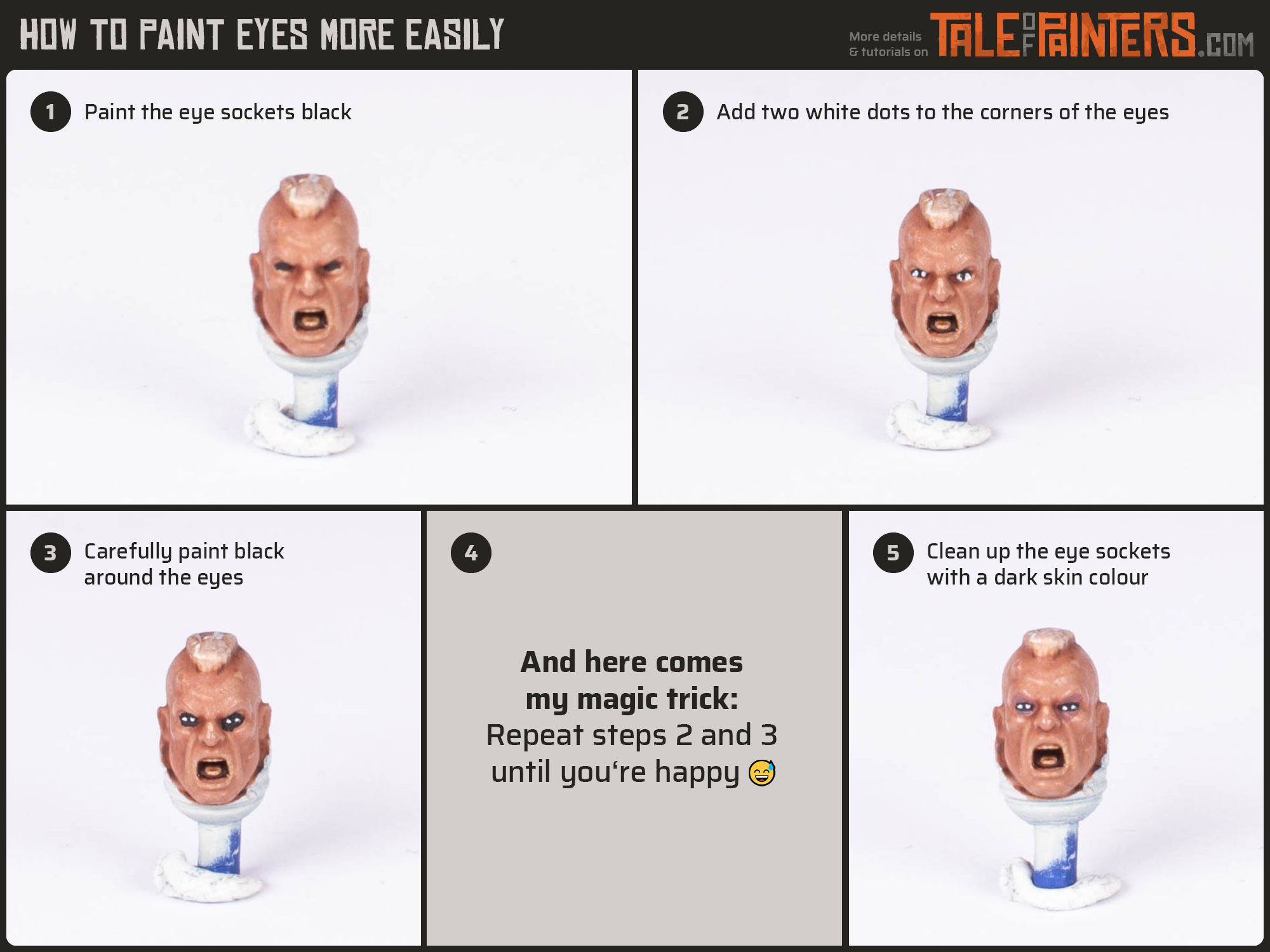 Tutorial - How to paint eyes more easily on your miniatures