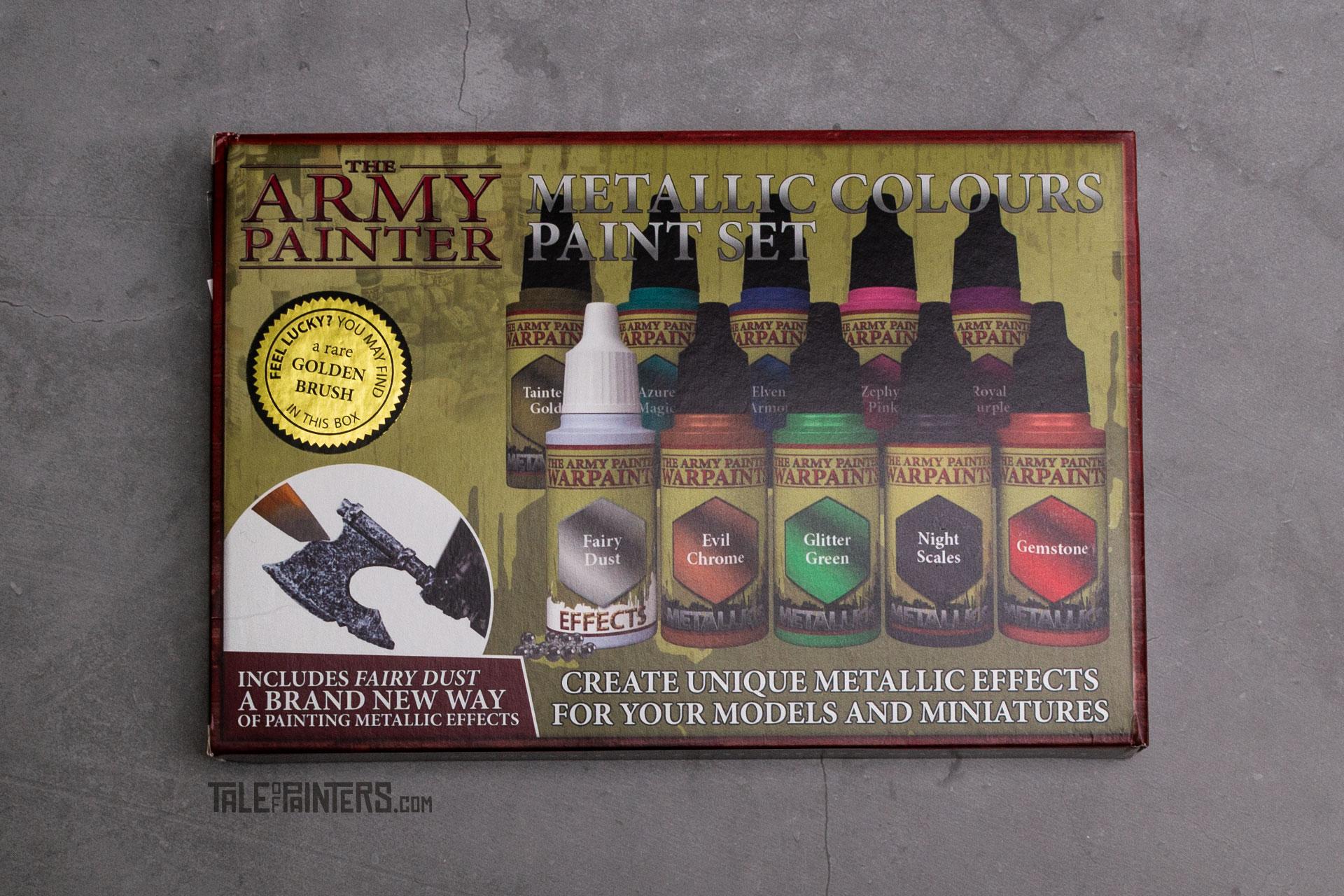 The boxof The Army Painter's Metallic Colours Warpaints set