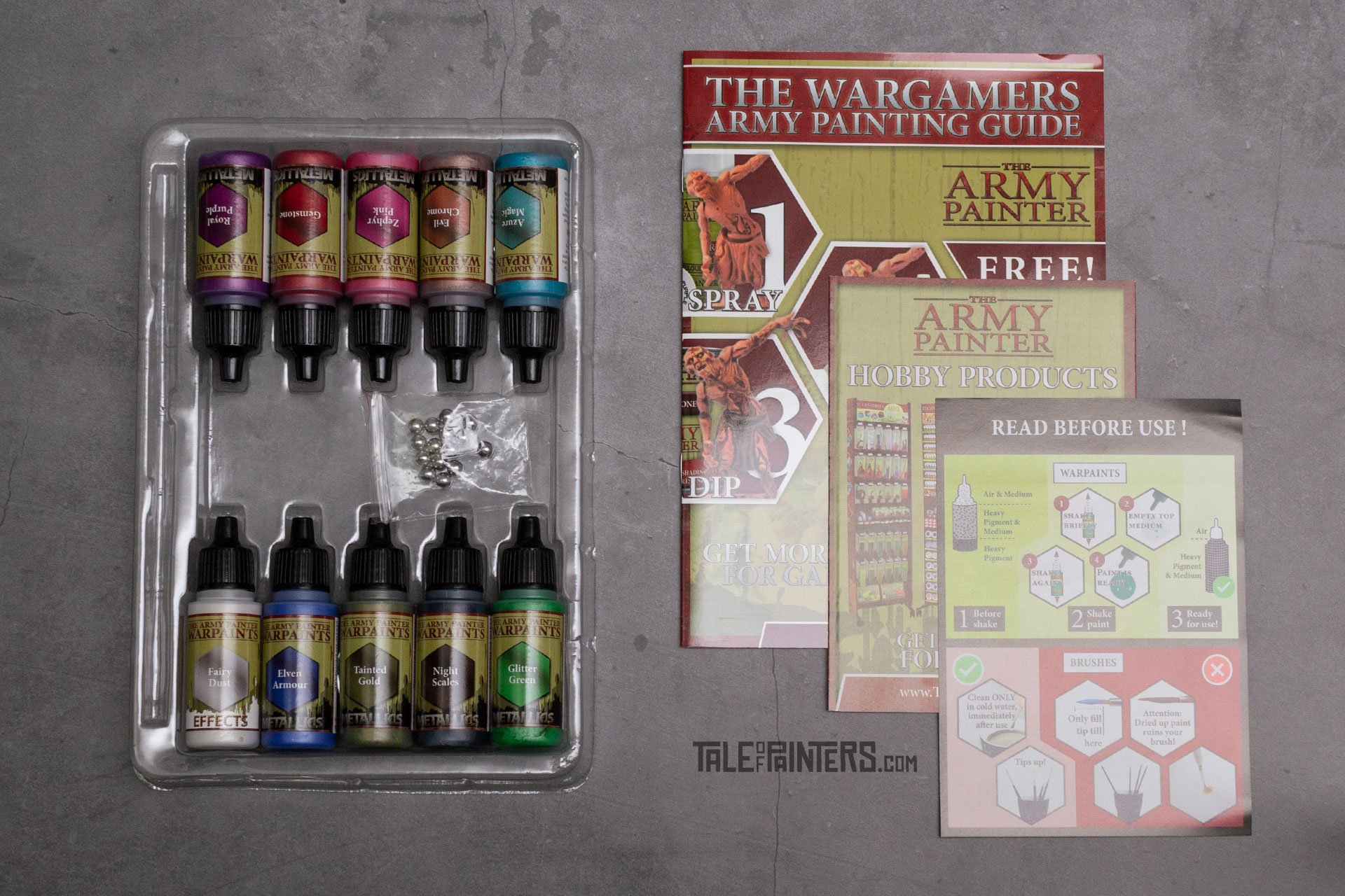 The contents of The Army Painter's Metallic Colours Warpaints set