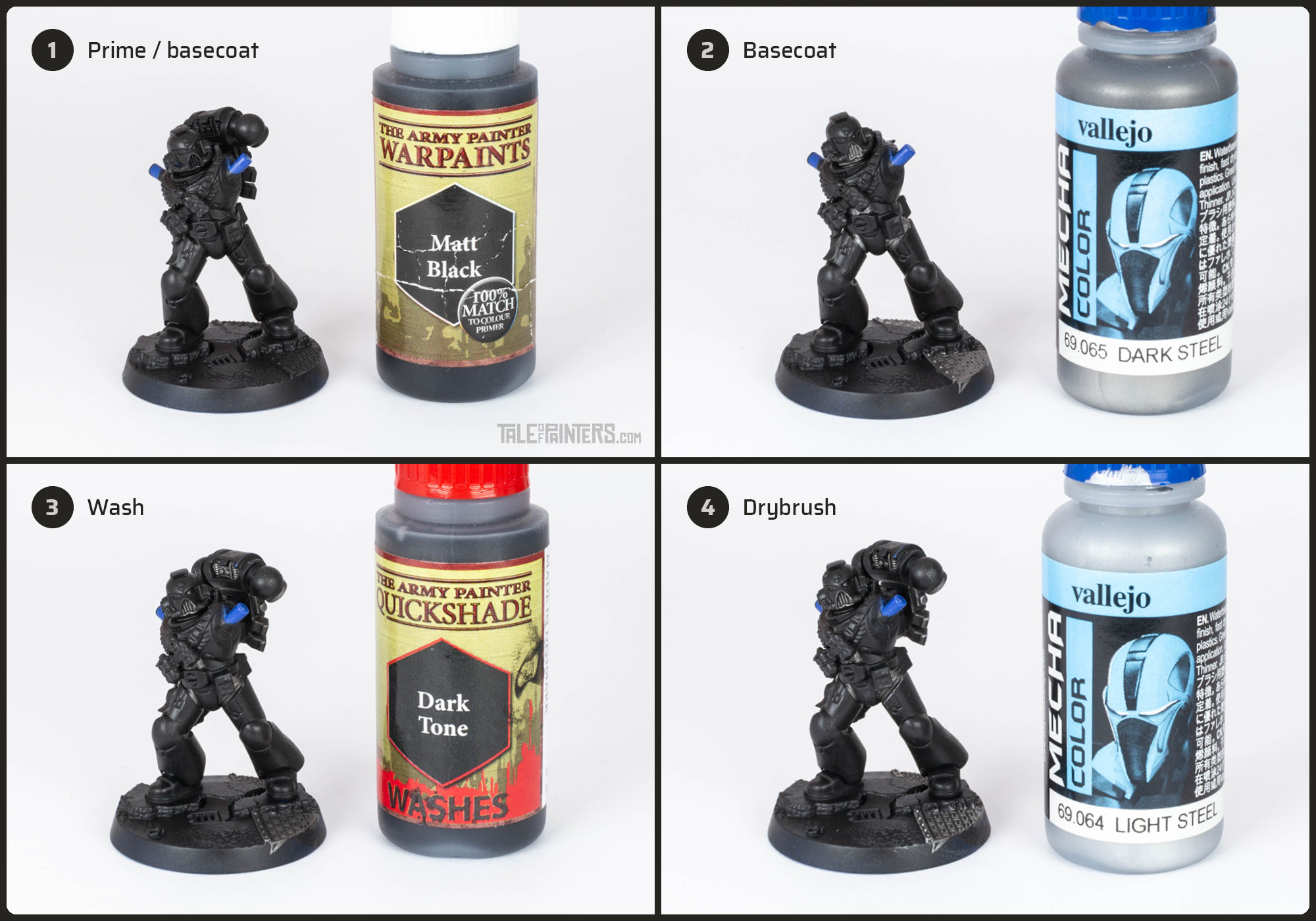 Tutorial: How to paint Black Templars with crisp black armour steps 1 - 4