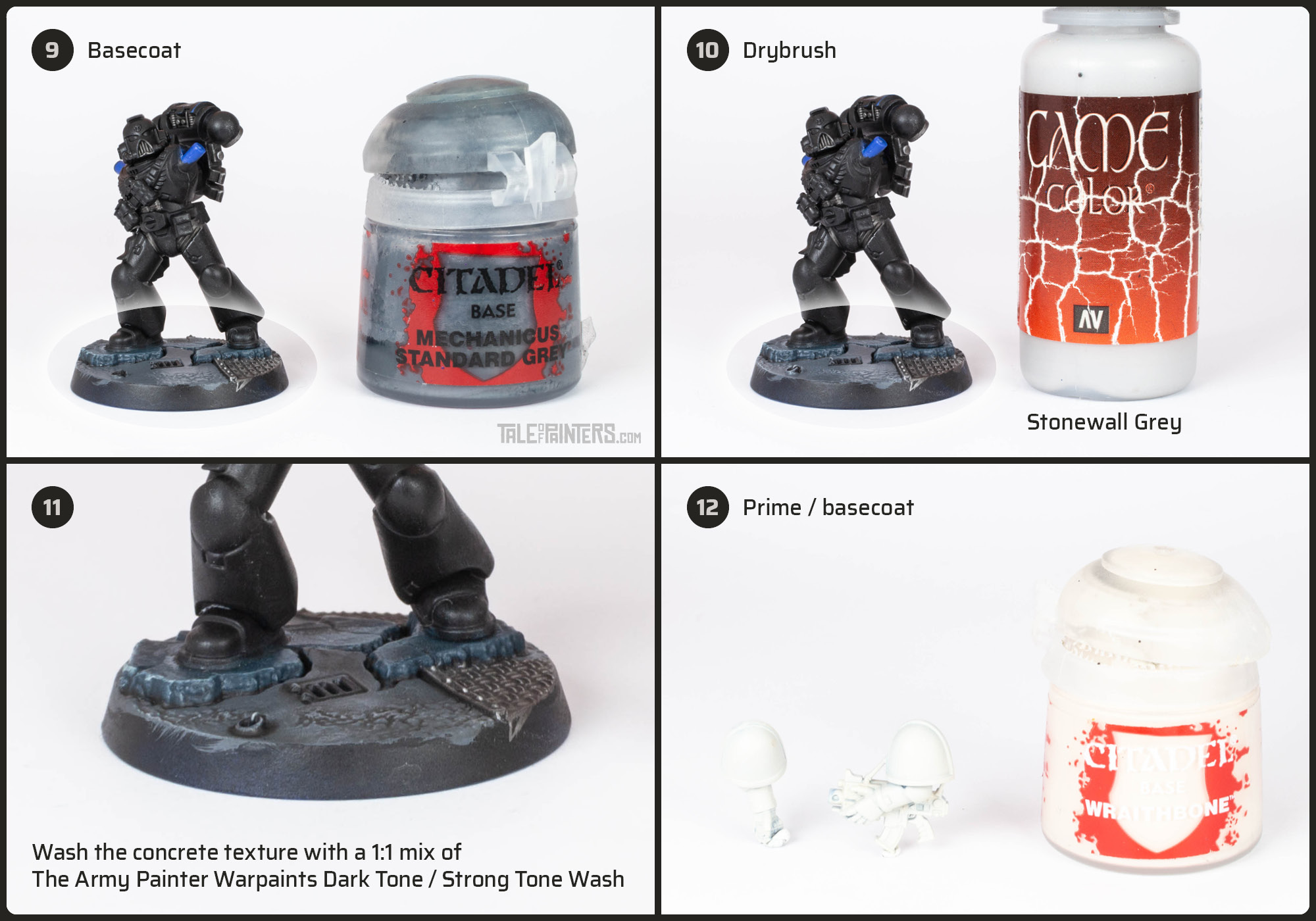 Tutorial: How to paint Black Templars with crisp black armour steps 9 - 12