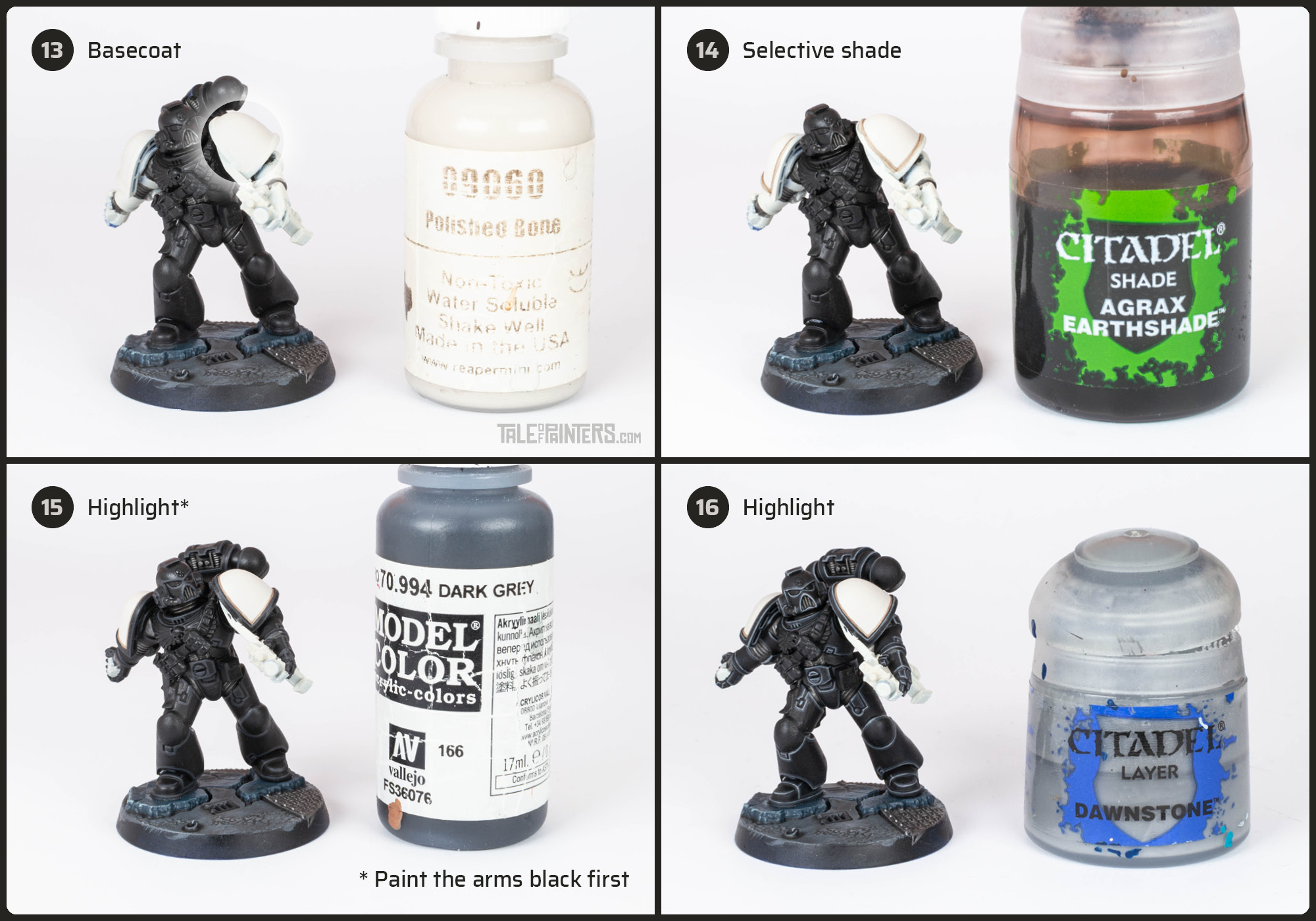Tutorial: How to paint Black Templars with crisp black armour steps 13 - 16