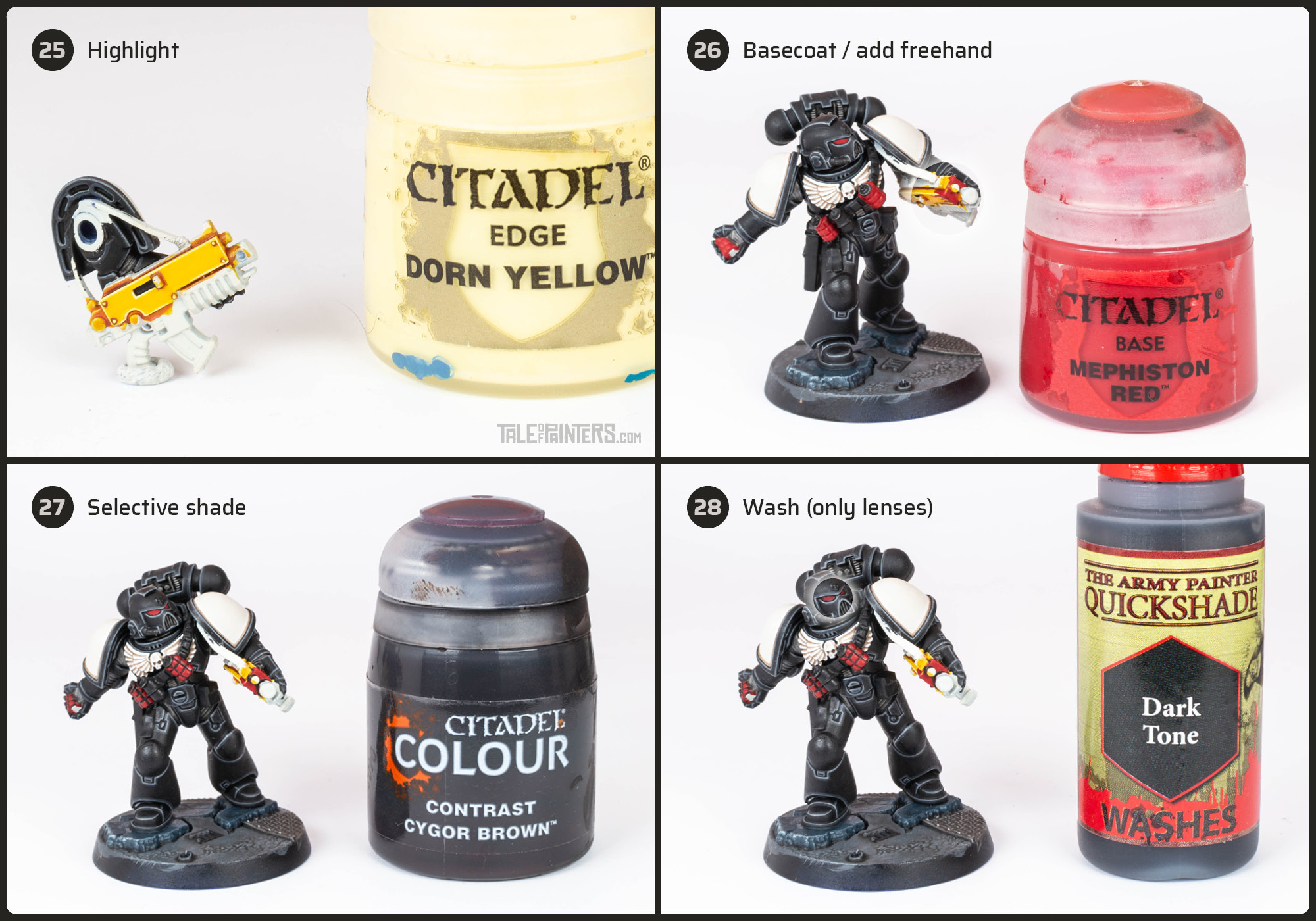 Tutorial: How to paint Black Templars with crisp black armour steps 25 - 28