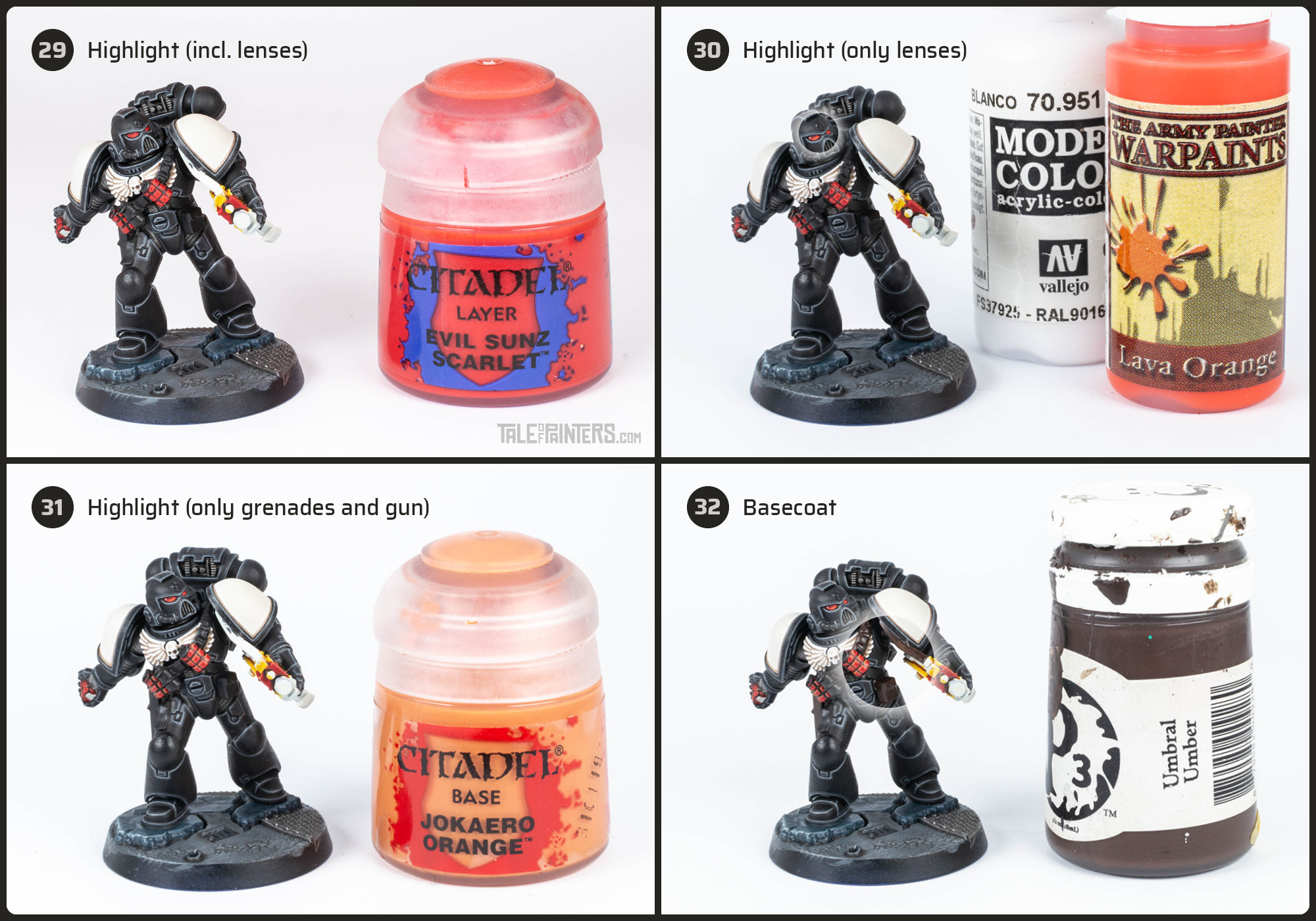 Tutorial: How to paint Black Templars with crisp black armour steps 29 - 32