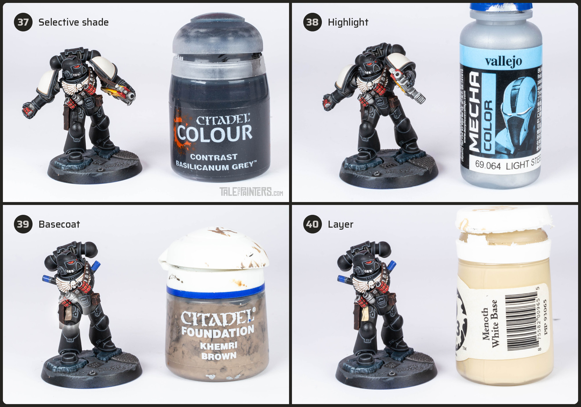 Tutorial: How to paint Black Templars with crisp black armour steps 37 - 40