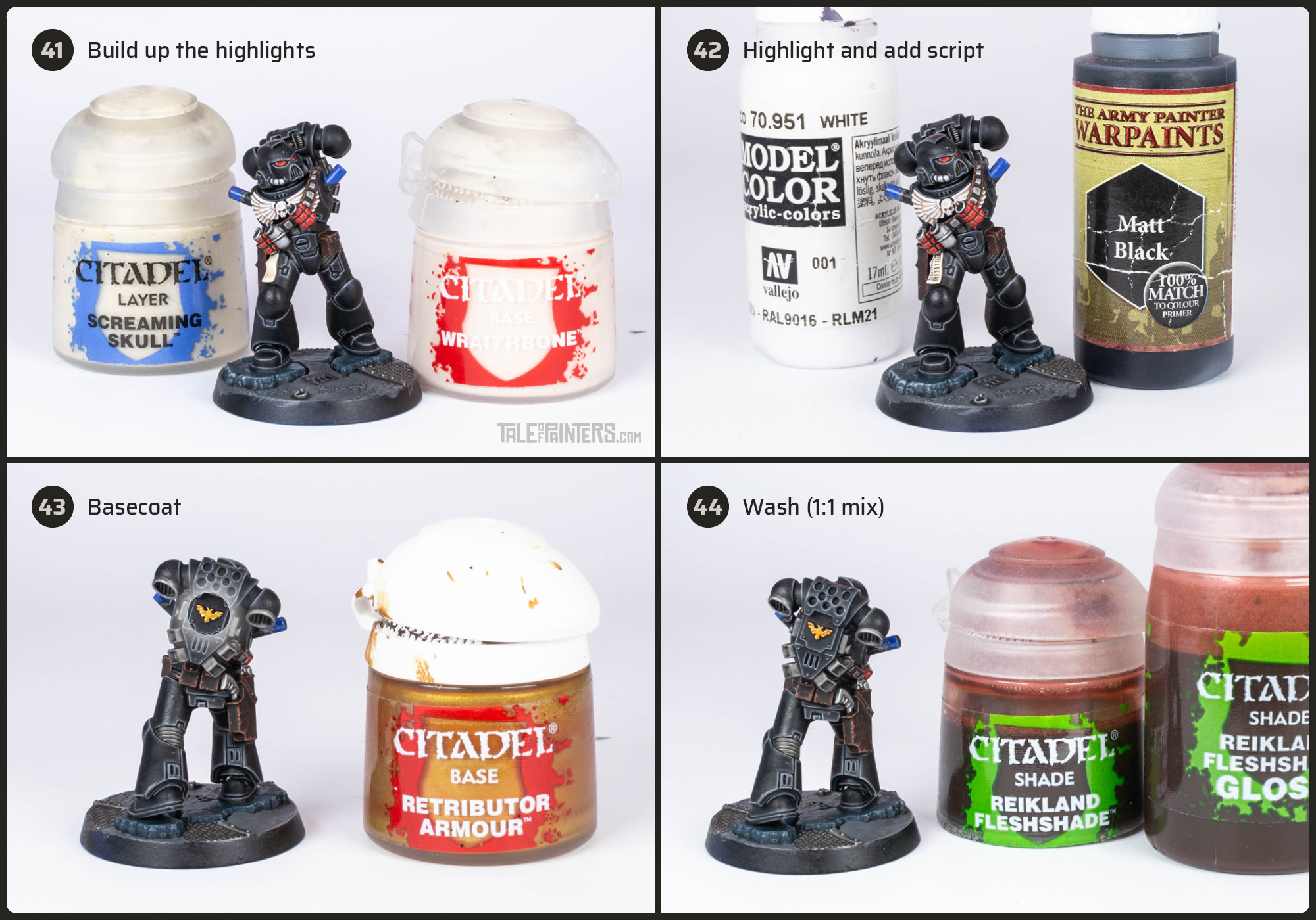 Tutorial: How to paint Black Templars with crisp black armour steps 41 - 44