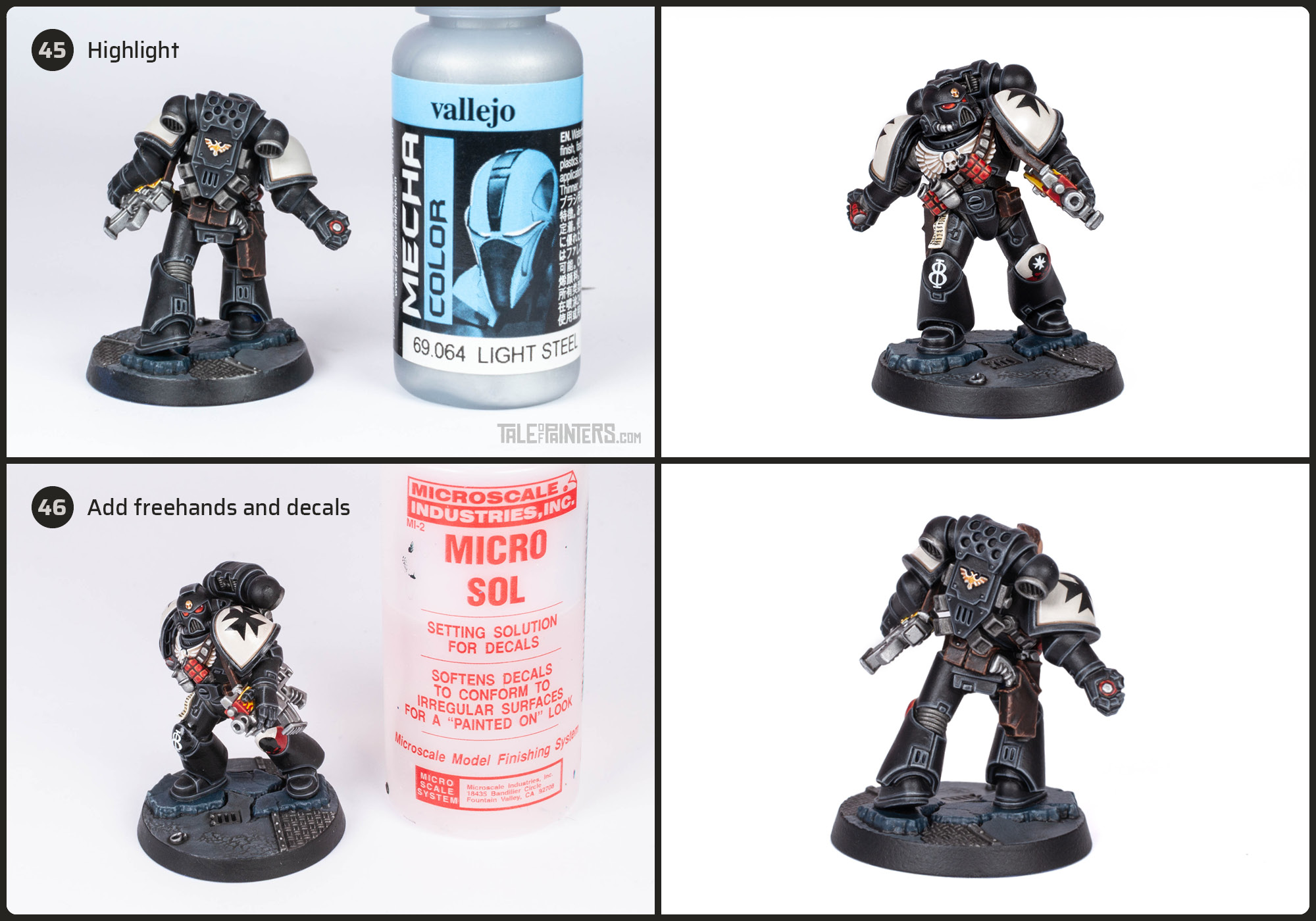 Tutorial: How to paint Black Templars with crisp black armour steps 45 and 46