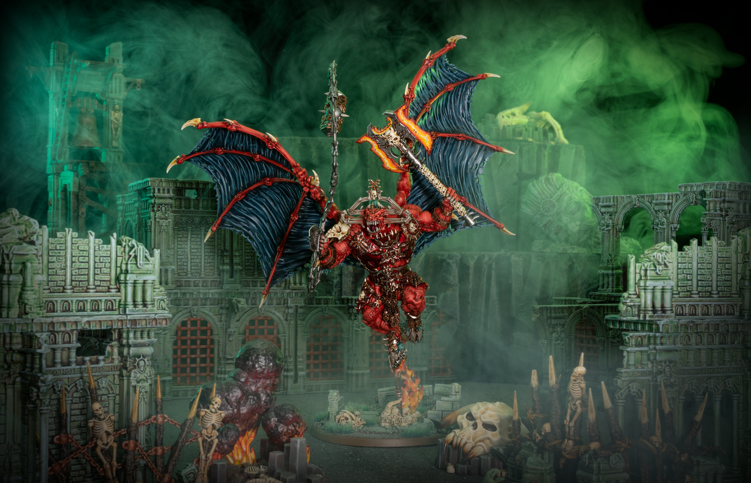 A Red demonic bloodthirster rampages through a ruined city