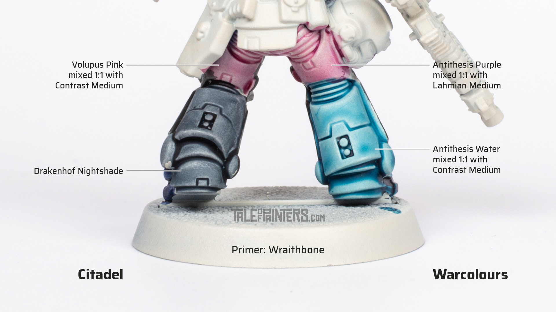 Antithesis Paints thinned with Lahmian and Contrast Medium on a Space Marine Intercessor