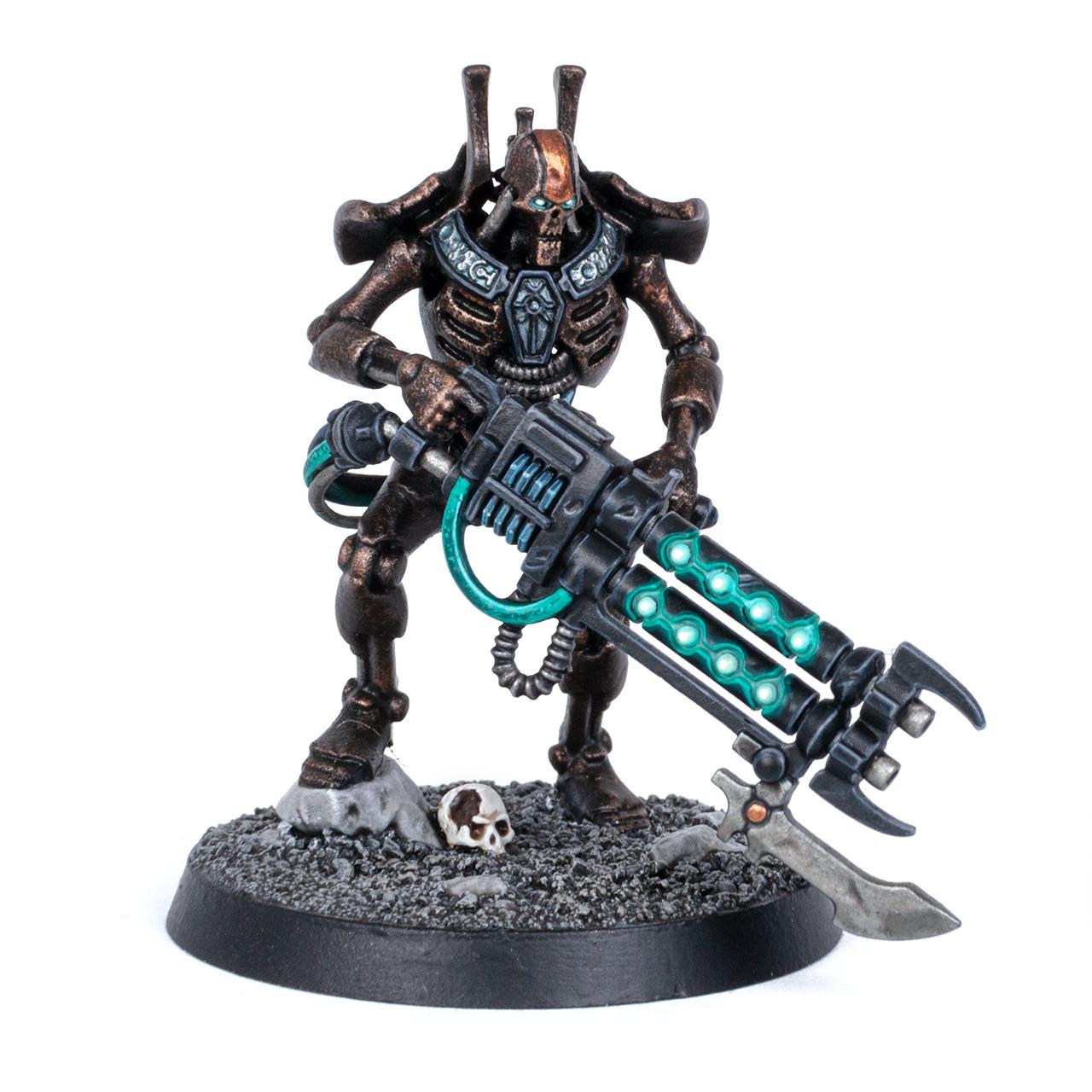 Necron Royal Guard in a dark brass paint scheme
