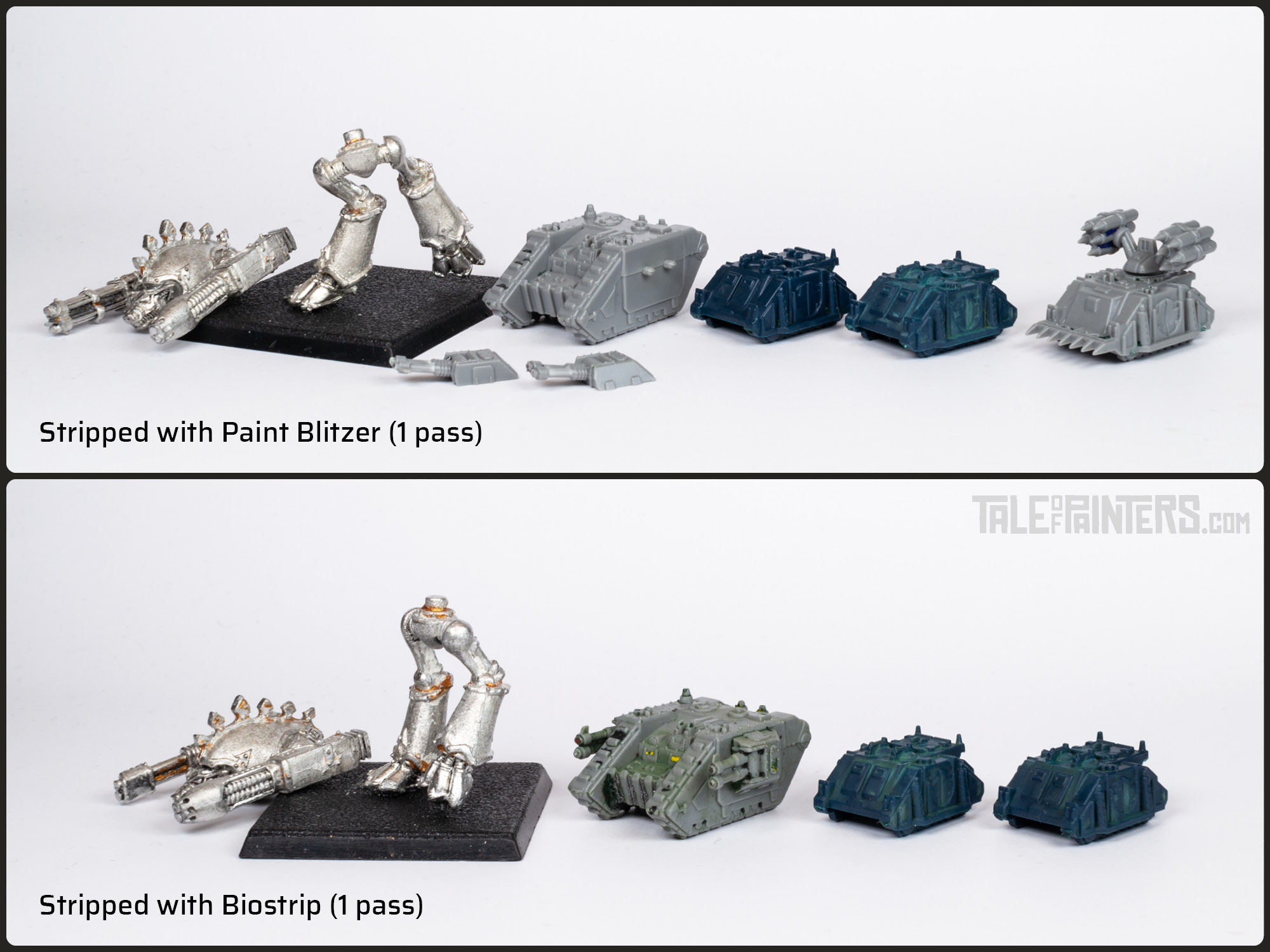 Comparison between Epic 40.000 models stripped with Biostrip and Paint Blitzer