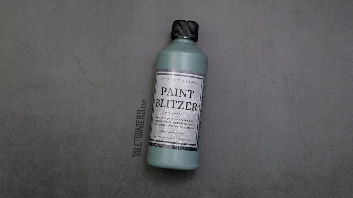 A bottle of Paint Blitzer paint stripper