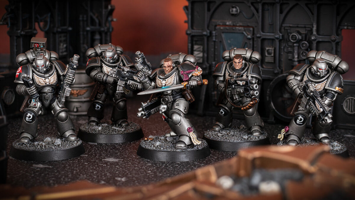 Scenic shot of a Silver Skulls Intercessor Squad painted by Stahly