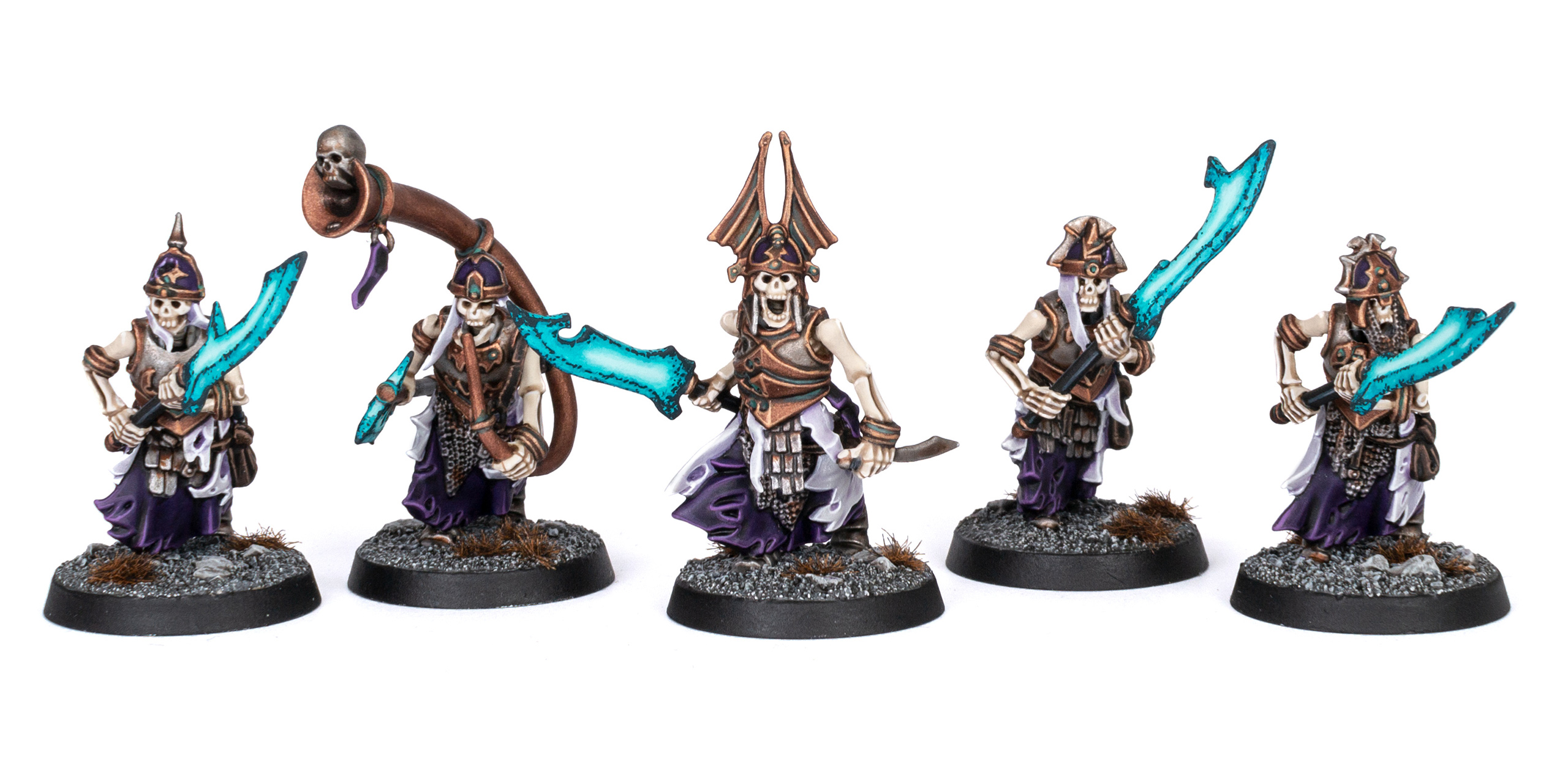 Five Grave Guard with Great Wight Blades painted by Stahly