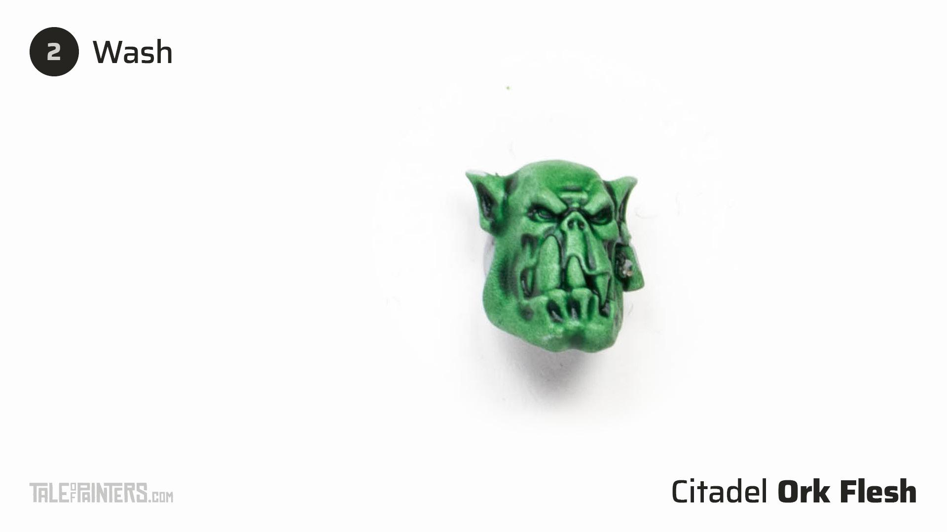 How to paint dark green Ork flesh - step 2