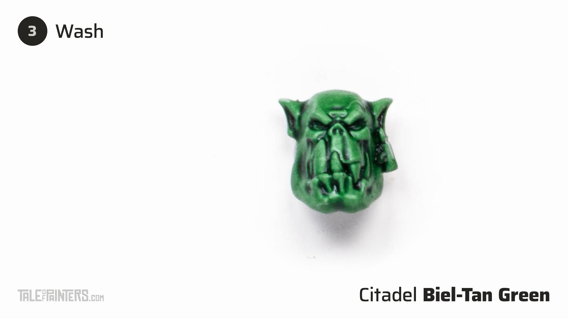 How to paint dark green Ork flesh - step 3