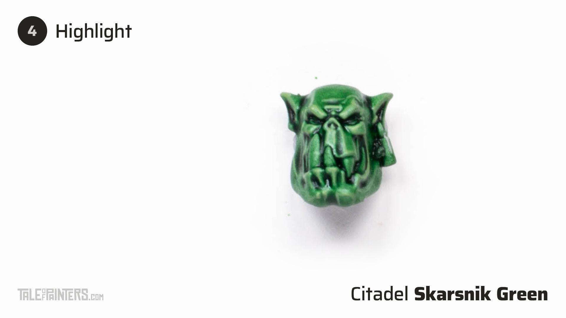 How to paint dark green Ork flesh - step 4