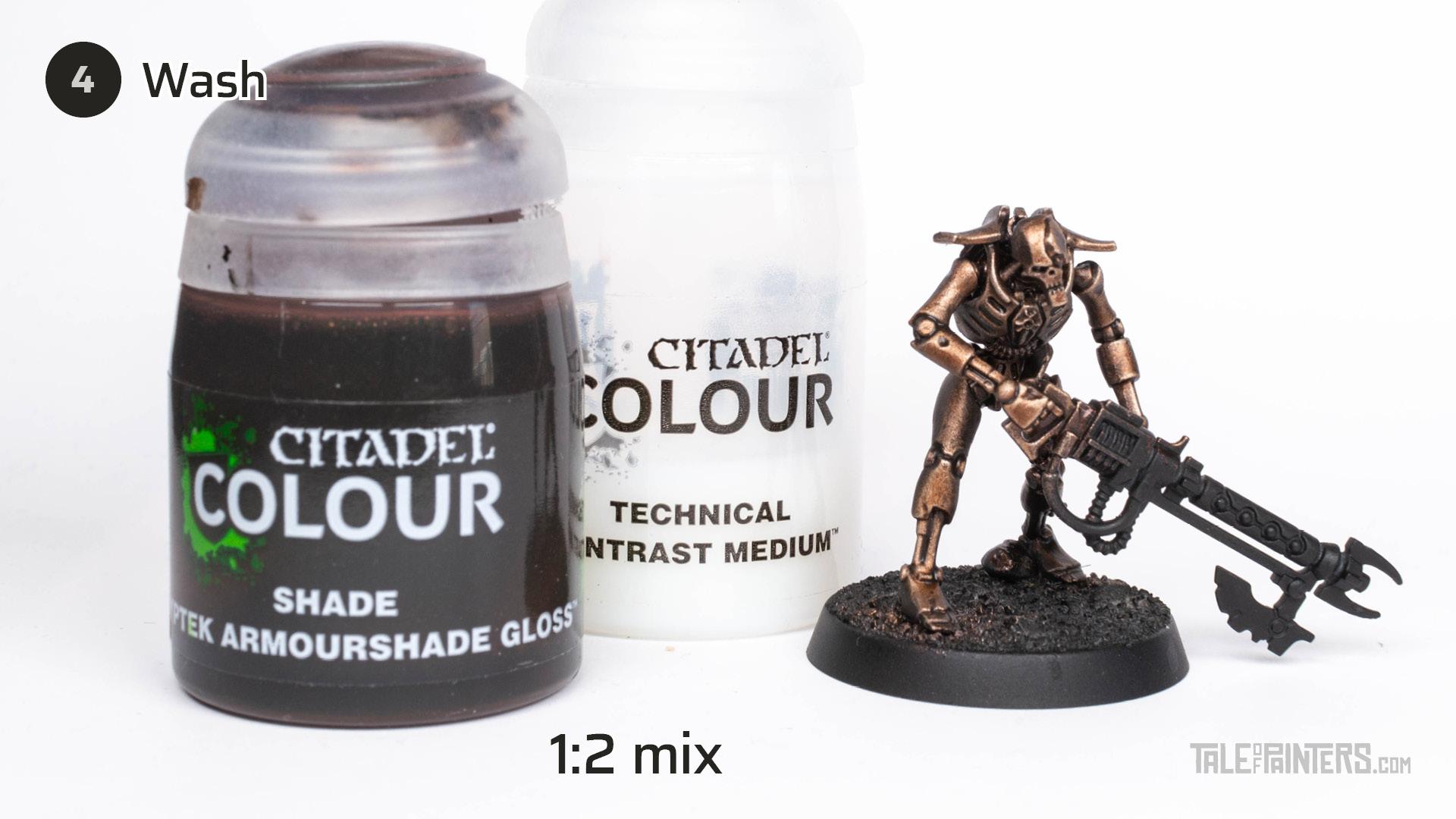 Tutorial: How to paint Necrons Szarekhan armour - step 4